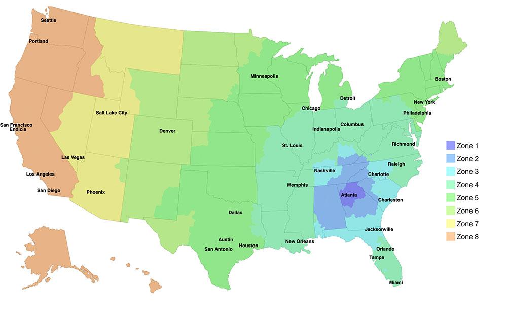 USPS Zones